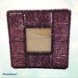 """Pottery Barn 3"""" x 3"""" Purple Beaded Picture Frame"""